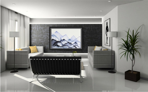 """Era of Tranquility"" Framed in a Modern Living Room"