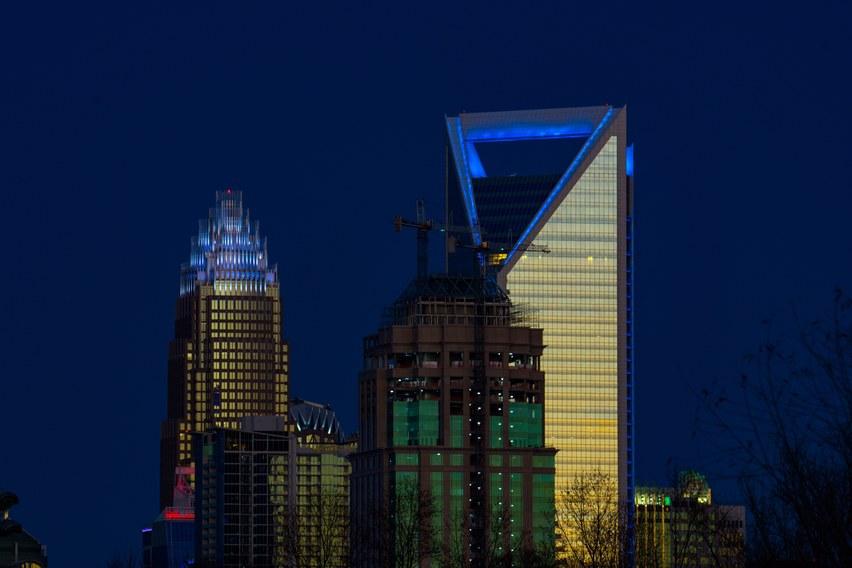 Lighting It Up Blue - Charlotte Skyline