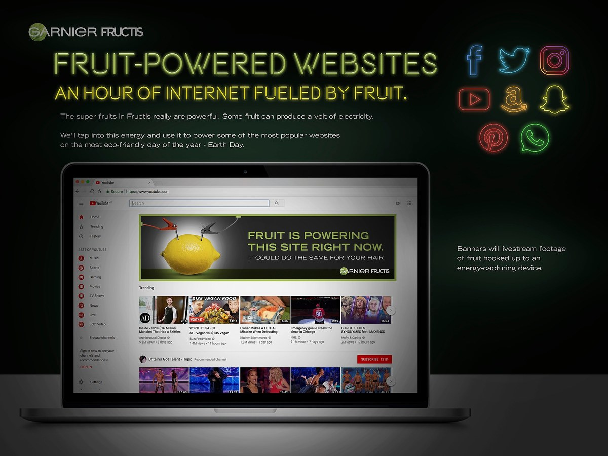 Garnier Fructis | Fruit-Powered Websites
