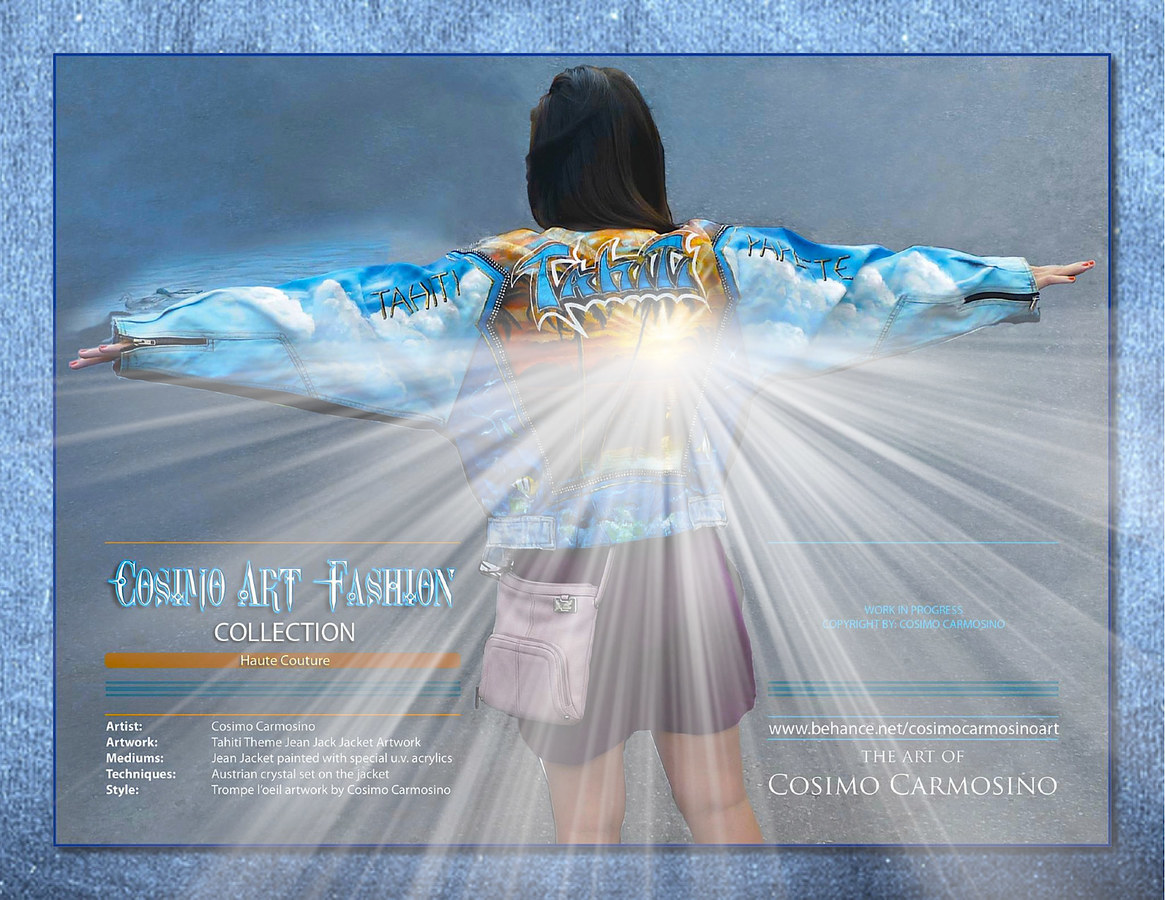 """TITLE: Promotional Flyer of """"Tahiti Dreams"""" haute couture jacket"""