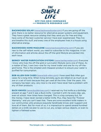 The Simple Life Off-Grid Resource List | Website Handout P. 3