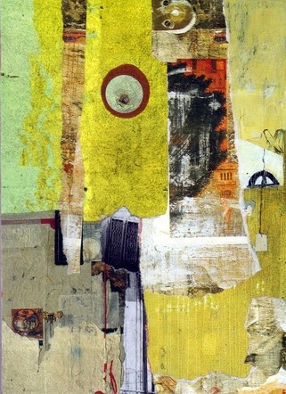 Blatant Theft: Abstraction 3 - Mixed Media Collage (on wood) - 2017